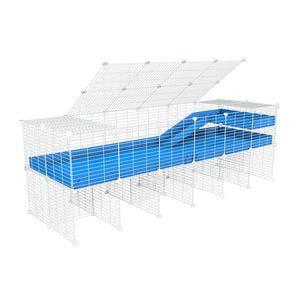 A 2x6 C and C guinea pig cage with stand loft ramp lid small size meshing safe white C and C grids blue correx sold in UK