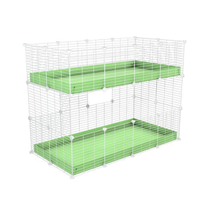A 4x2 double stacked c and c guinea pig cage with two stories pistacchio green coroplast safe size white C and C grids by brand kavee