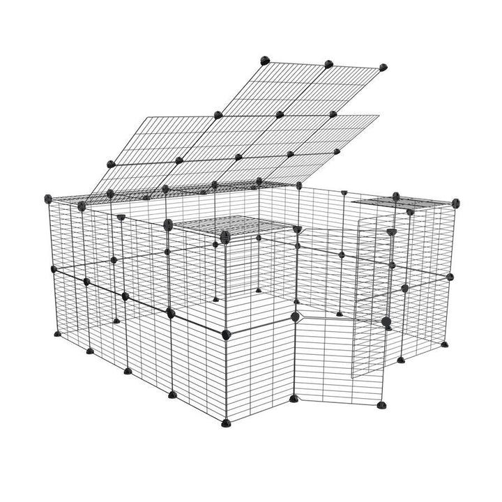 a tall 4x4 outdoor modular run with a top and baby bars safe C&C grids for guinea pigs or Rabbits by brand kavee