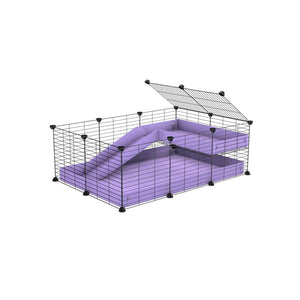 a 3x2 C&C guinea pig cage with a loft and a ramp purple lilac pastel coroplast sheet and baby bars by kavee