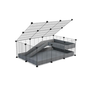 a 2x3 C and C guinea pig cage with loft ramp lid small hole size grids grey coroplast kavee