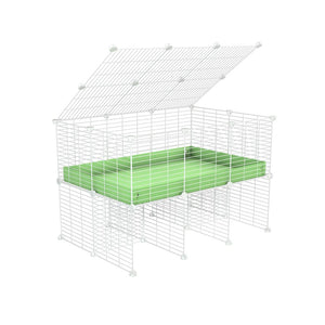 a 3x2 C&C cage for guinea pigs with a stand and a top green pastel pistacchio plastic safe white grids by kavee