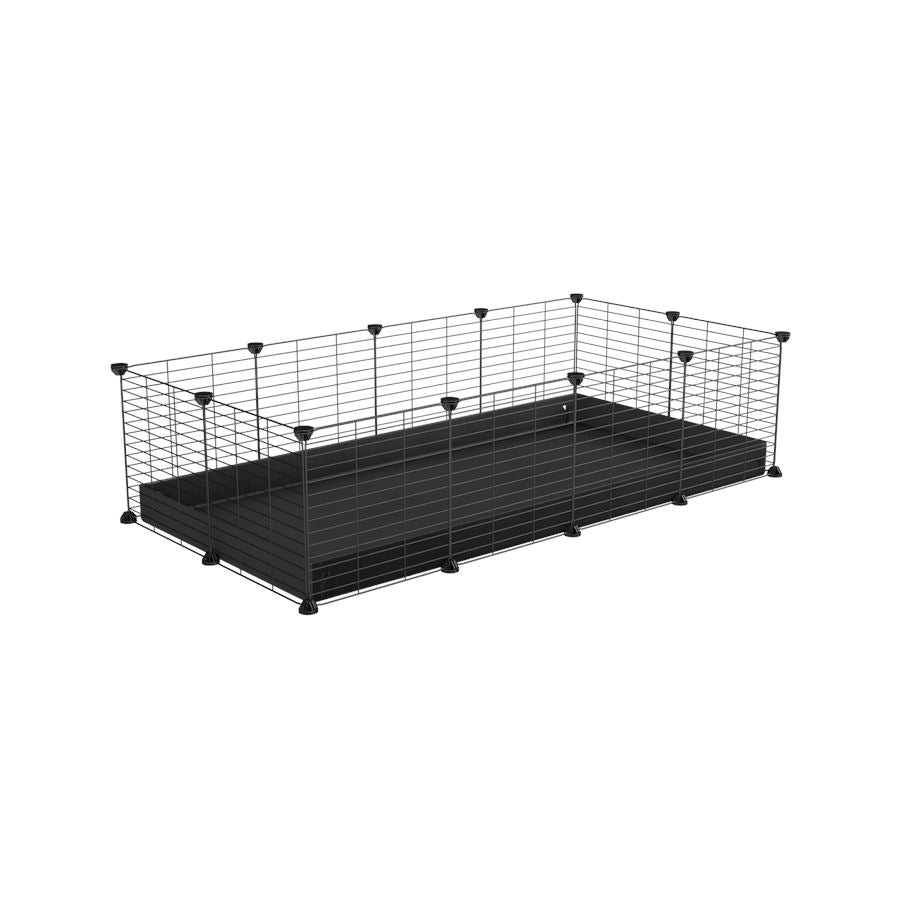 A cheap 4x2 C&C cage for guinea pig with black coroplast and baby grids from brand kavee