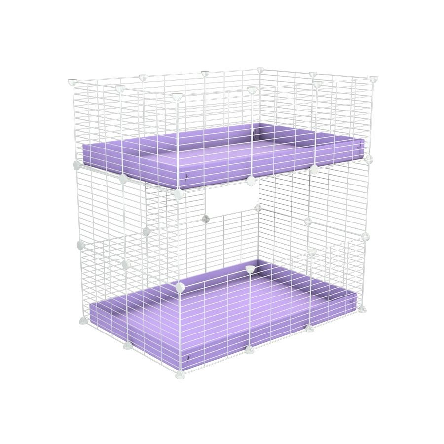 A two tier 3x2 c&c cage for guinea pigs with two levels purple correx baby safe white grids by brand kavee in the uk