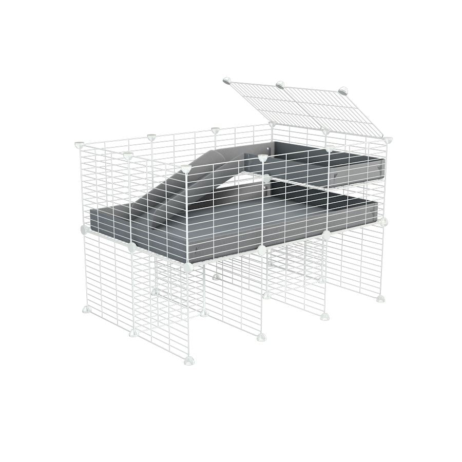a 3x2 CC guinea pig cage with stand loft ramp small mesh white C&C grids grey corroplast by brand kavee