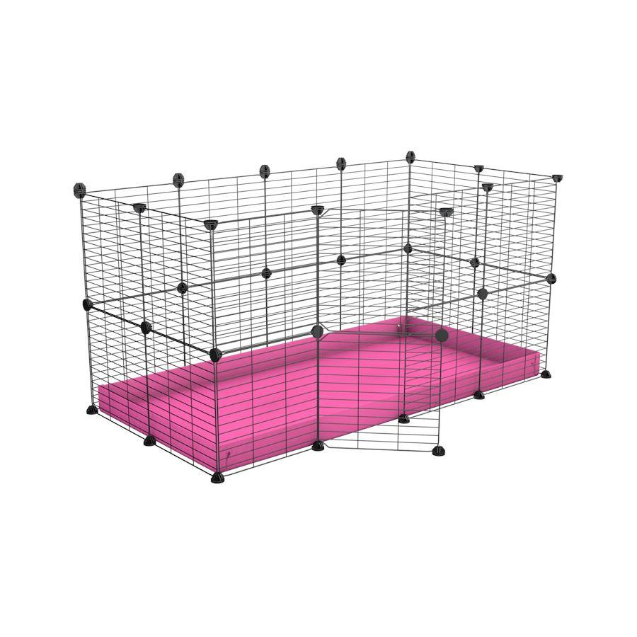 A 4x2 C&C rabbit cage with safe small meshing baby bars grids and pink coroplast by kavee UK