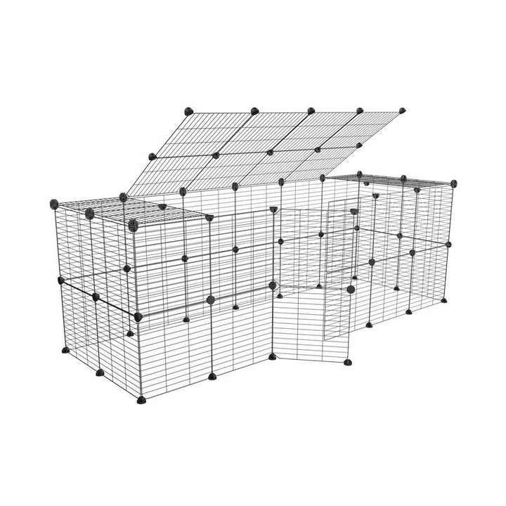 a tall 6x2 outdoor modular run with a top and baby bars safe C&C grids for guinea pigs or Rabbits by brand kavee