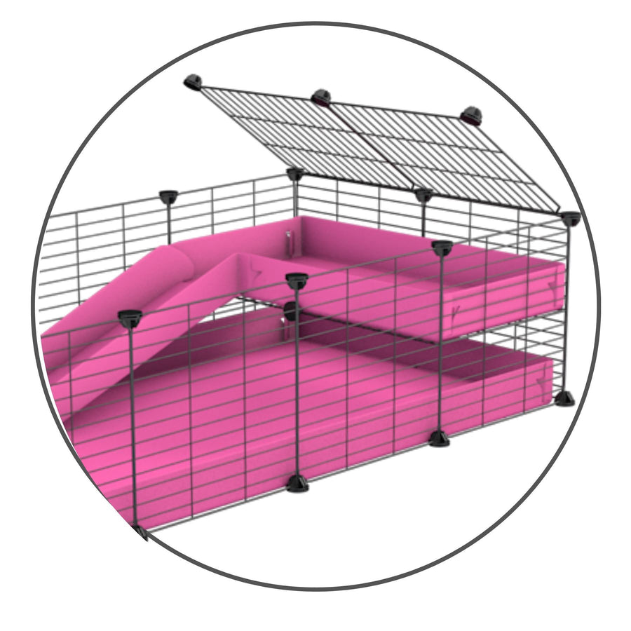 A kit to add a ramp to a C&C cage with a pink coroplast ramp and 2x1 loft and small hole size safe CC grids