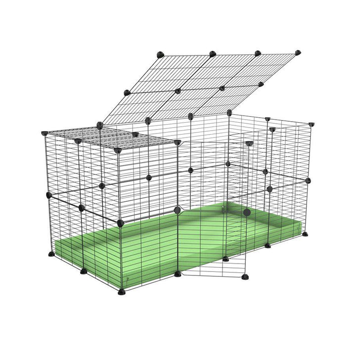 A 4x2 C&C rabbit cage with top and safe small mesh grids green pistacchio coroplast by kavee UK