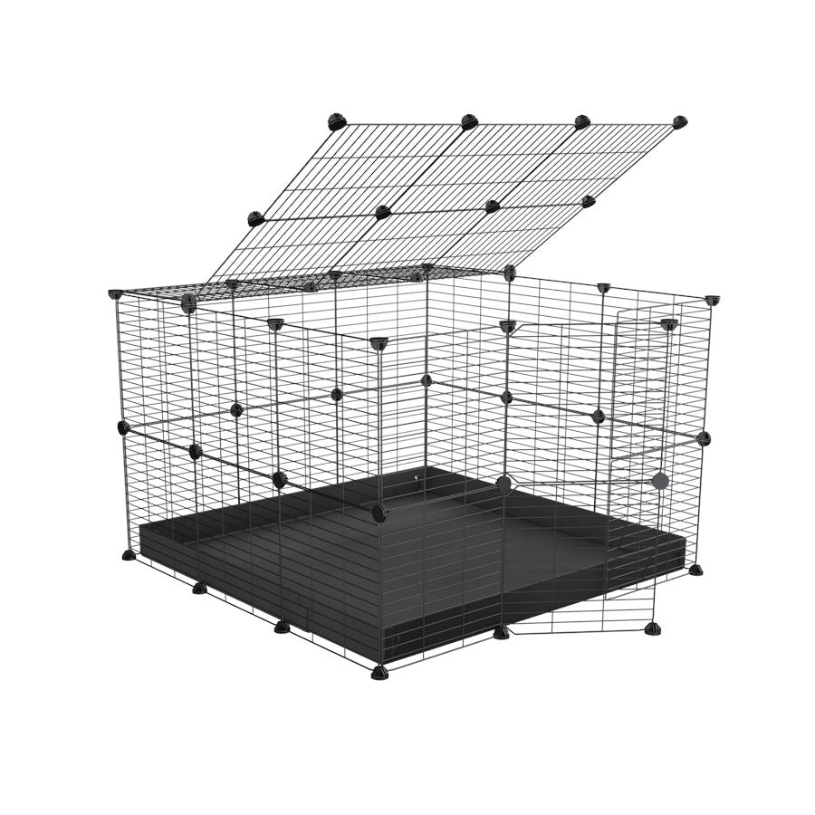 A 3x3 C and C rabbit cage with safe small size baby grids and black coroplast by kavee UK