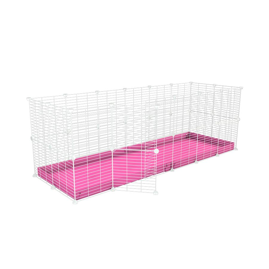 A 6x2 C and C rabbit cage with safe baby proof white grids pink coroplast by kavee UK