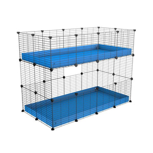 A 4x2 double stacked c and c guinea pig cage with two stories blue coroplast safe size grids by brand kavee
