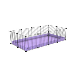 A cheap 4x2 C&C cage for guinea pig with purple lilac pastel coroplast and baby grids from brand kavee