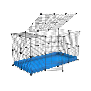 A 4x2 C&C rabbit cage with top and safe baby bars grids blue coroplast by kavee UK