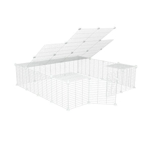 a 4x4 outdoor modular run with lid and baby bars safe C&C white grids for guinea pigs or Rabbits by brand kavee