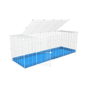 A 6x2 C and C rabbit cage with a top and safe small size baby proof white C and C grids and blue coroplast by kavee UK