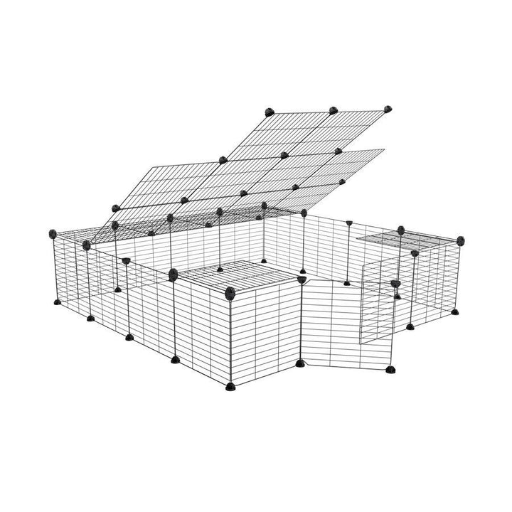 a 4x4 outdoor modular run with baby bars safe C&C grids and lid for guinea pigs or Rabbits by brand kavee