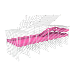 A 2x6 C and C guinea pig cage with stand loft ramp lid small size meshing safe white C&C grids pink correx sold in UK