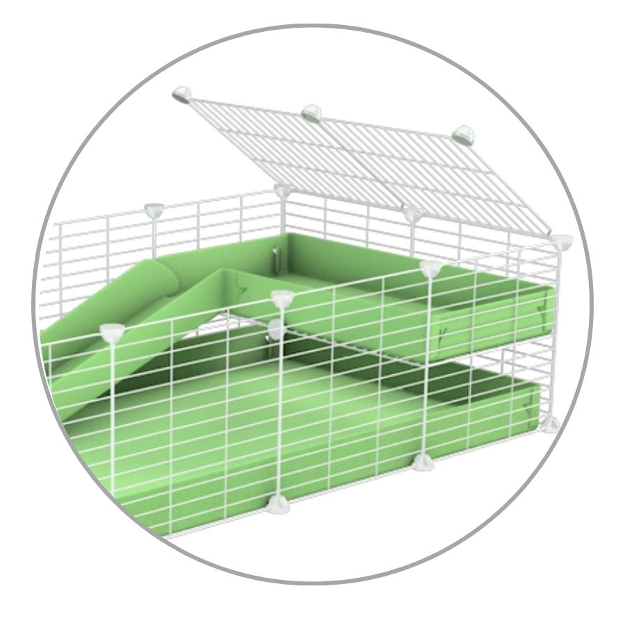 A kit containing a green coroplast ramp and 2x1 loft and small hole size safe white C&C grids by kavee uk