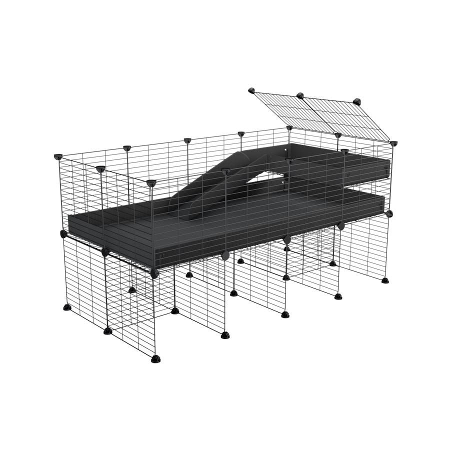 a 4x2 CC guinea pig cage with stand loft ramp small mesh grids black corroplast by brand kavee