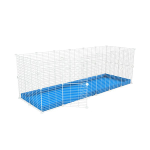 A 6x2 C and C rabbit cage with safe small size baby proof white C and C grids and blue coroplast by kavee UK