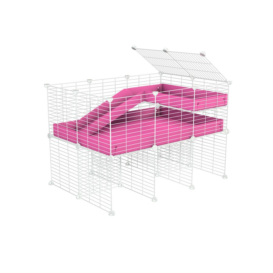 a 3x2 CC guinea pig cage with stand loft ramp small mesh white grids pink corroplast by brand kavee