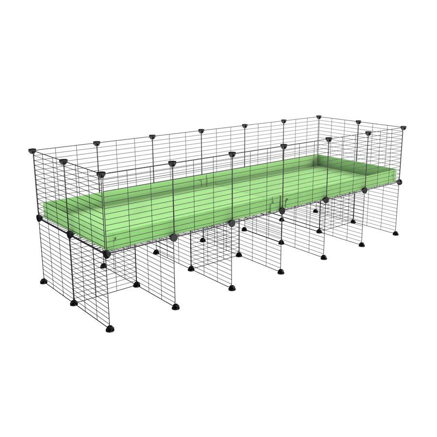 a 6x2 CC cage for guinea pigs with a stand green pastel pistachio correx and 9x9 grids sold in Uk by kavee