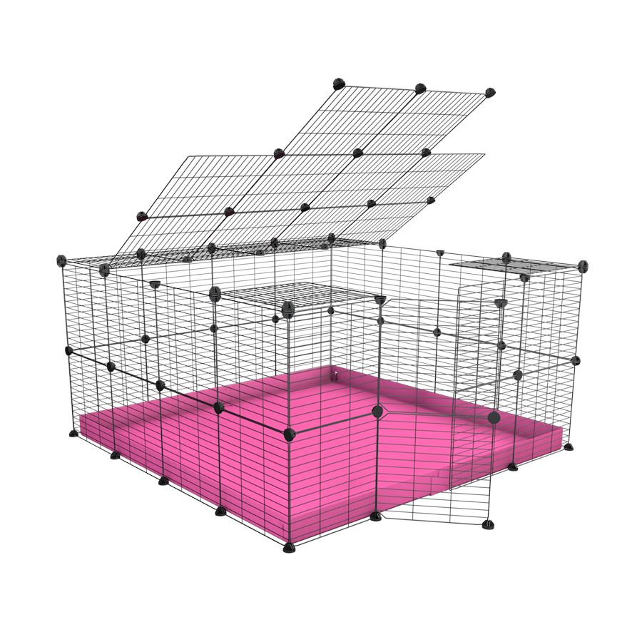 A 4x4 C&C rabbit cage with top and safe small hole grids pink coroplast by kavee UK