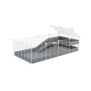 a 4x2 C&C guinea pig cage with a loft and a ramp grey coroplast sheet and baby bars white C and C grids by kavee