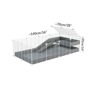 Dimensions of a 2x4 C and C guinea pig cage with loft ramp lid small hole size white CC grids grey coroplast kavee