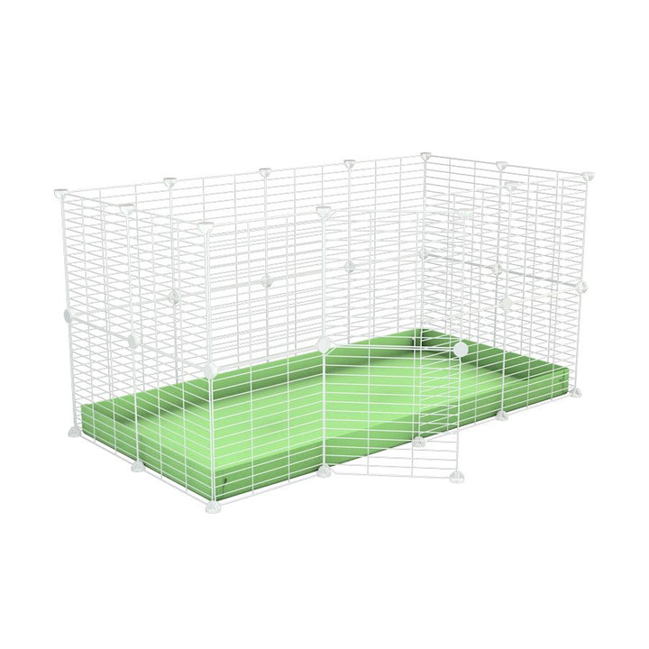 A 4x2 C&C rabbit cage with safe small mesh white C and C grids green pistachio coroplast by kavee UK