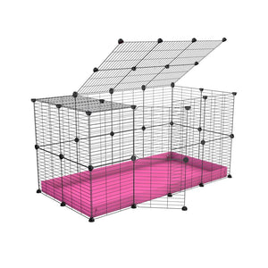 A 4x2 C&C rabbit cage with top and safe small hole grids pink coroplast by kavee UK