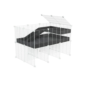 a 3x2 CC guinea pig cage with stand loft ramp small mesh white grids black corroplast by brand kavee