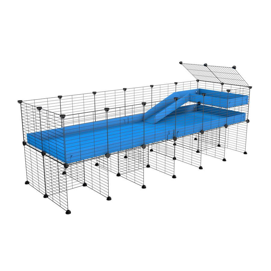 a 6x2 CC guinea pig cage with stand loft ramp small mesh grids blue corroplast by brand kavee