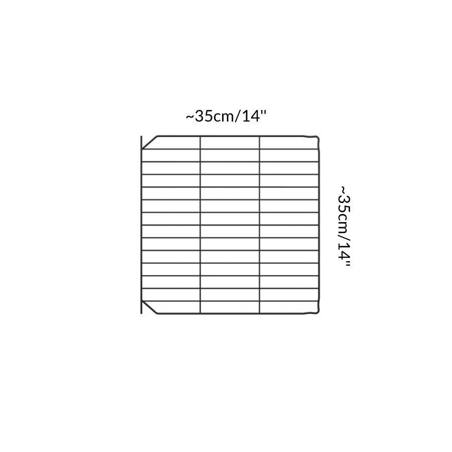 Dimensions of A black safe small mesh C&C door grid to create hinged doors and lids on C and C cages for guinea pigs by kavee UK