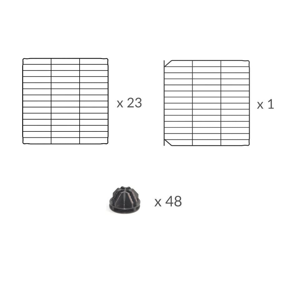 Composition of a 6x6 outdoor modular playpen with small hole safe C&C grids for guinea pigs or Rabbits by brand kavee