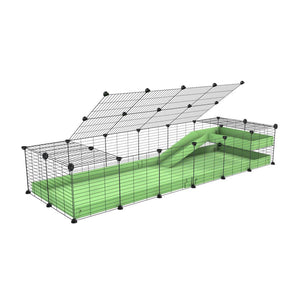 a 2x6 C and C guinea pig cage with loft ramp lid small hole size grids green pastel pistachio coroplast kavee