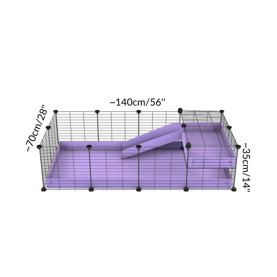 Size of a 4x2 C&C guinea pig cage with a loft and a ramp purple lilac pastel coroplast sheet and baby bars by kavee