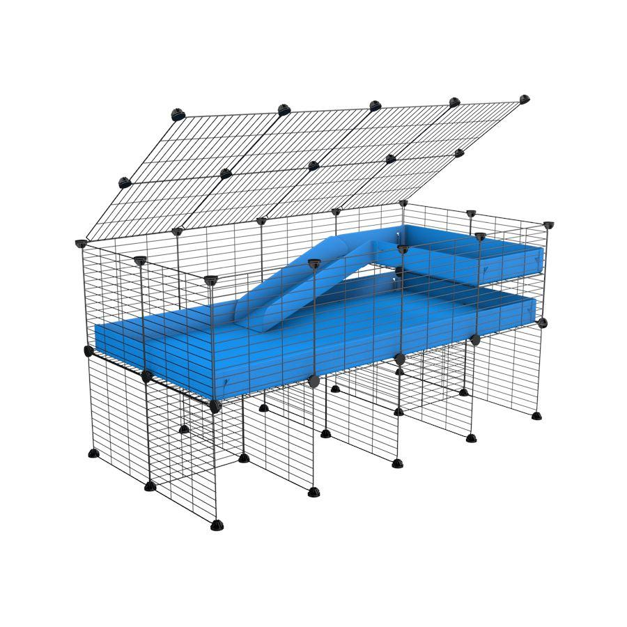 A 2x4 C and C guinea pig cage with stand loft ramp lid small size meshing safe grids blue correx sold in UK