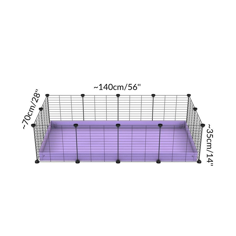 Size of A cheap 4x2 C&C cage for guinea pig with purple lilac pastel coroplast and baby grids from brand kavee