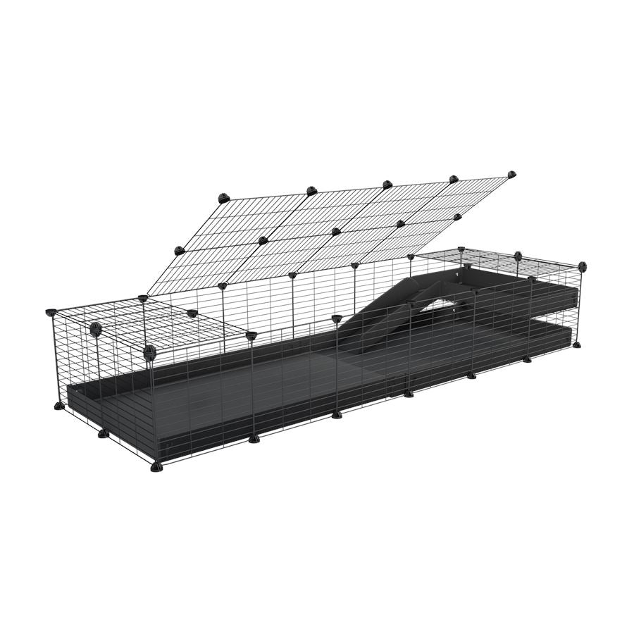 a 2x6 C and C guinea pig cage with loft ramp lid small hole size grids black coroplast kavee