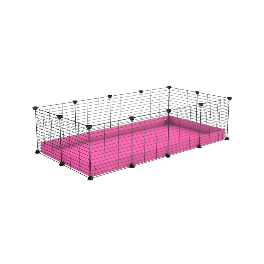 A cheap 4x2 C&C cage for guinea pig with pink coroplast and baby grids from brand kavee