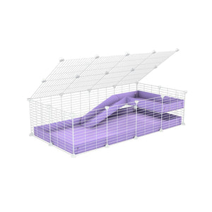 a 2x4 C and C guinea pig cage with loft ramp lid small hole size white C and C grids purple lilac pastel coroplast kavee