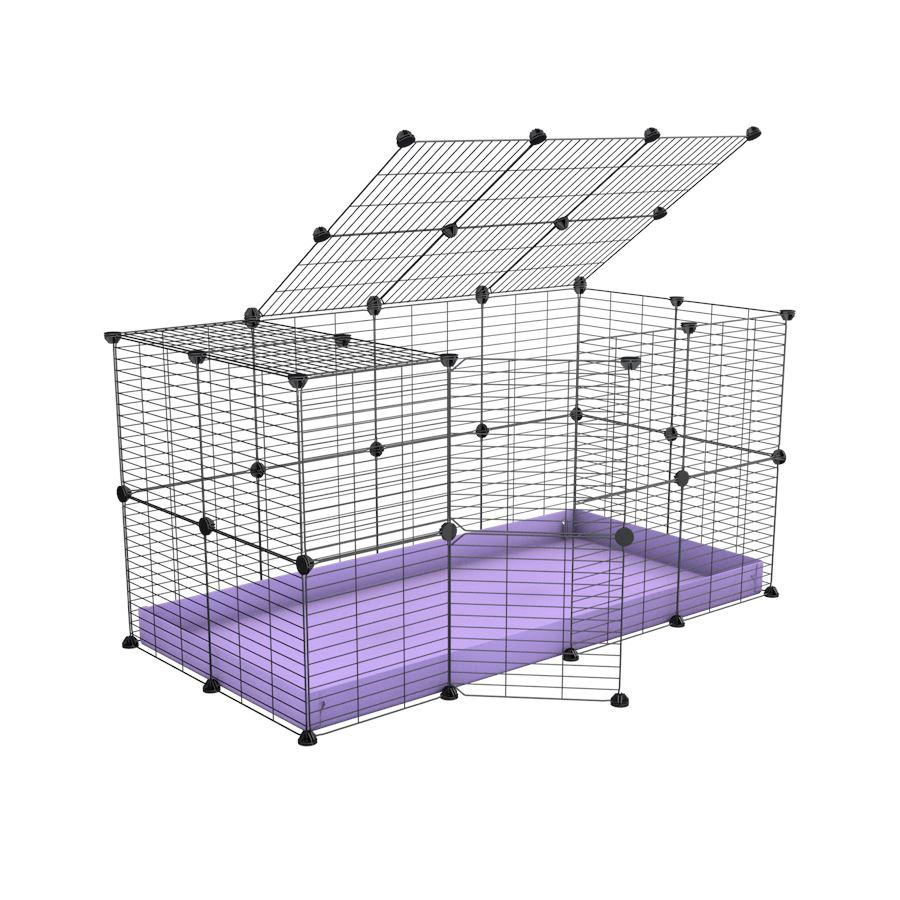 A 4x2 C&C rabbit cage with top and safe baby bars grids purple coroplast by kavee UK