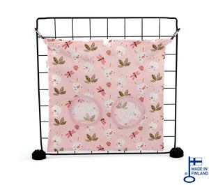 guinea pig accessory hay bag haybag fleece pink handmade kavee c and c cage