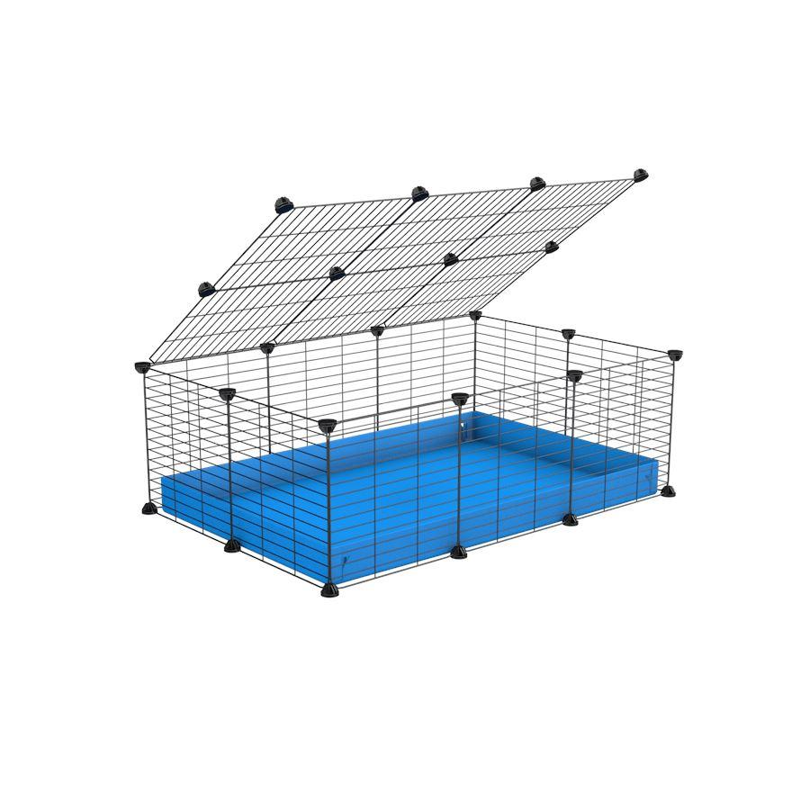 A 2x3 C and C cage for guinea pigs with blue coroplast a lid and small hole grids from brand kavee