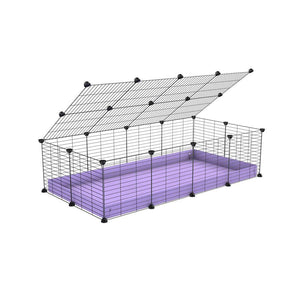 A 2x4 C and C cage for guinea pigs with purple lilac pastel coroplast a lid and small hole grids from brand kavee