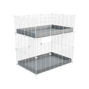 A two tier 3x2 c&c cage for guinea pigs with two levels grey correx baby safe white grids by brand kavee in the uk