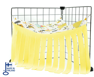 guinea pig accessory corner curtain hideout fleece yellow handmade kavee c&c cage