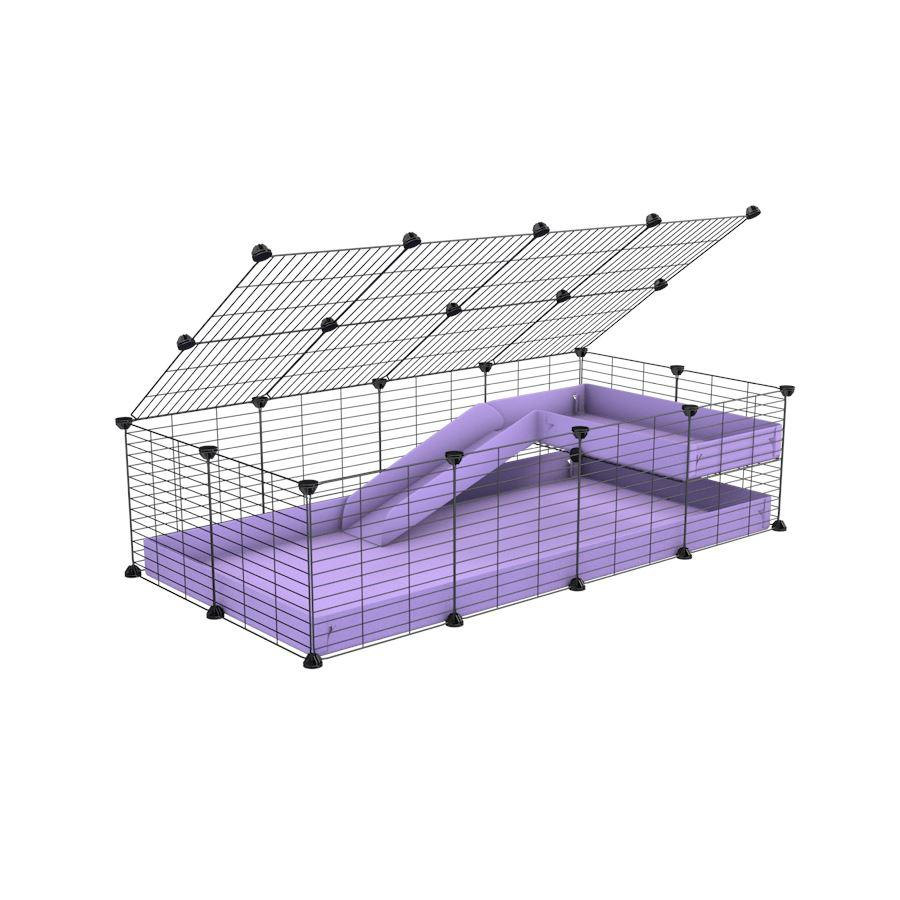 a 2x4 C and C guinea pig cage with loft ramp lid small hole size grids purple lilac pastel coroplast kavee